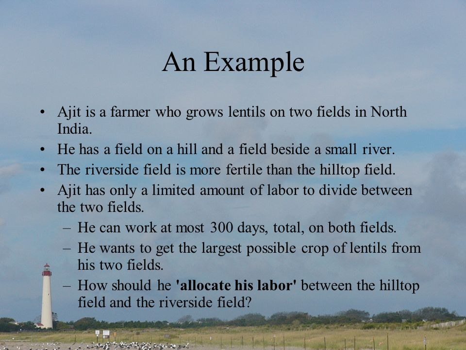 An Example Ajit is a farmer who grows lentils on two fields in North India. He has a field on a hill and a field beside a small river. The riverside f