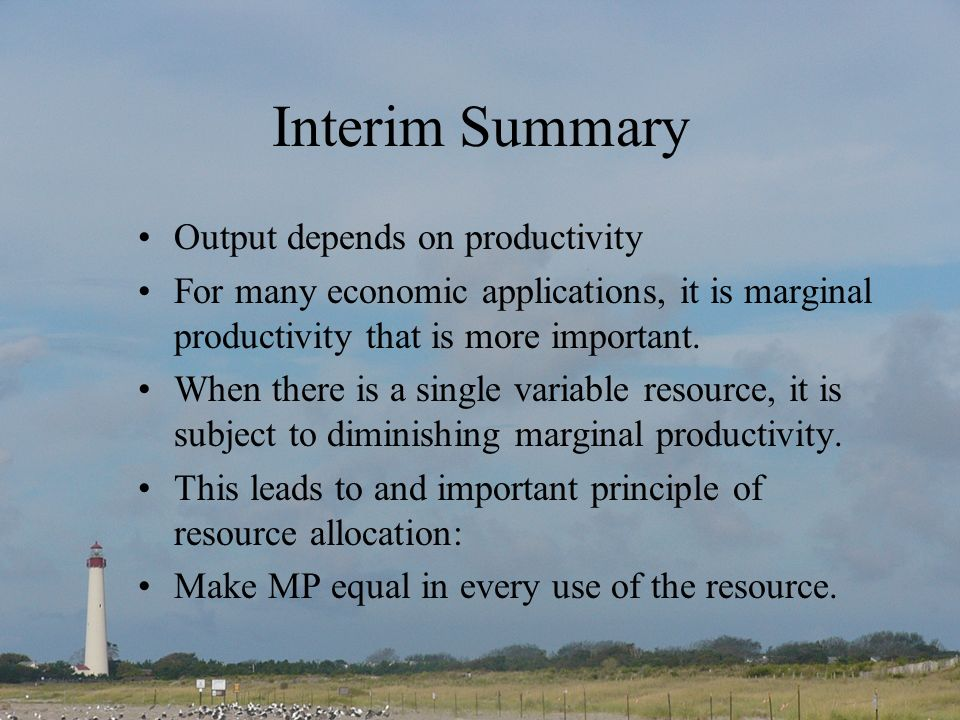 Interim Summary Output depends on productivity For many economic applications, it is marginal productivity that is more important. When there is a sin