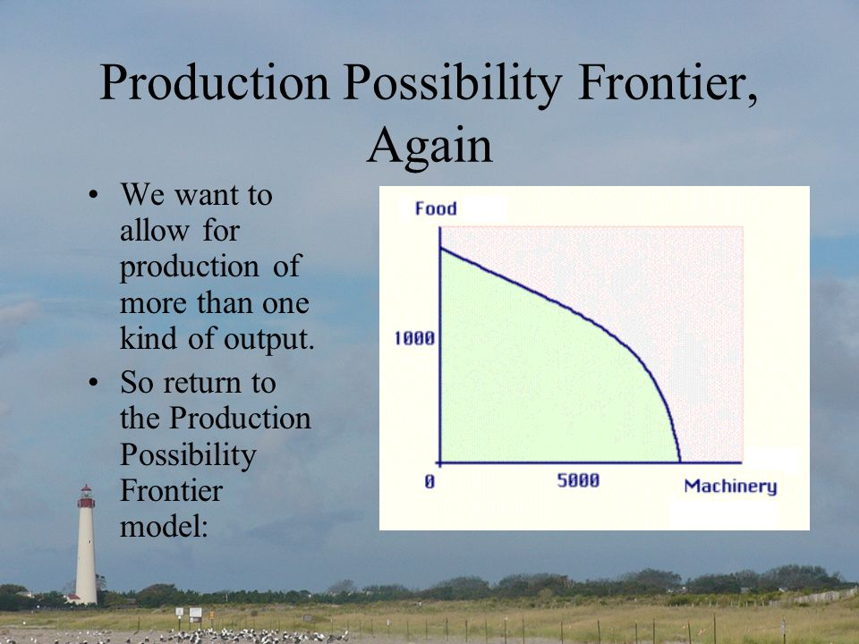 Production Possibility Frontier, Again We want to allow for production of more than one kind of output. So return to the Production Possibility Fronti