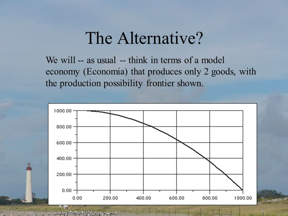 The Alternative? We will -- as usual -- think in terms of a model economy (Economia) that produces only 2 goods, with the production possibility front