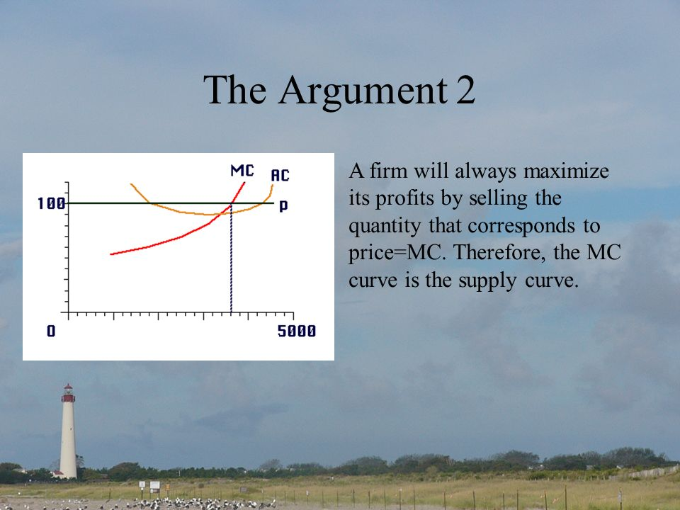 The Argument 2 A firm will always maximize its profits by selling the quantity that corresponds to price=MC.