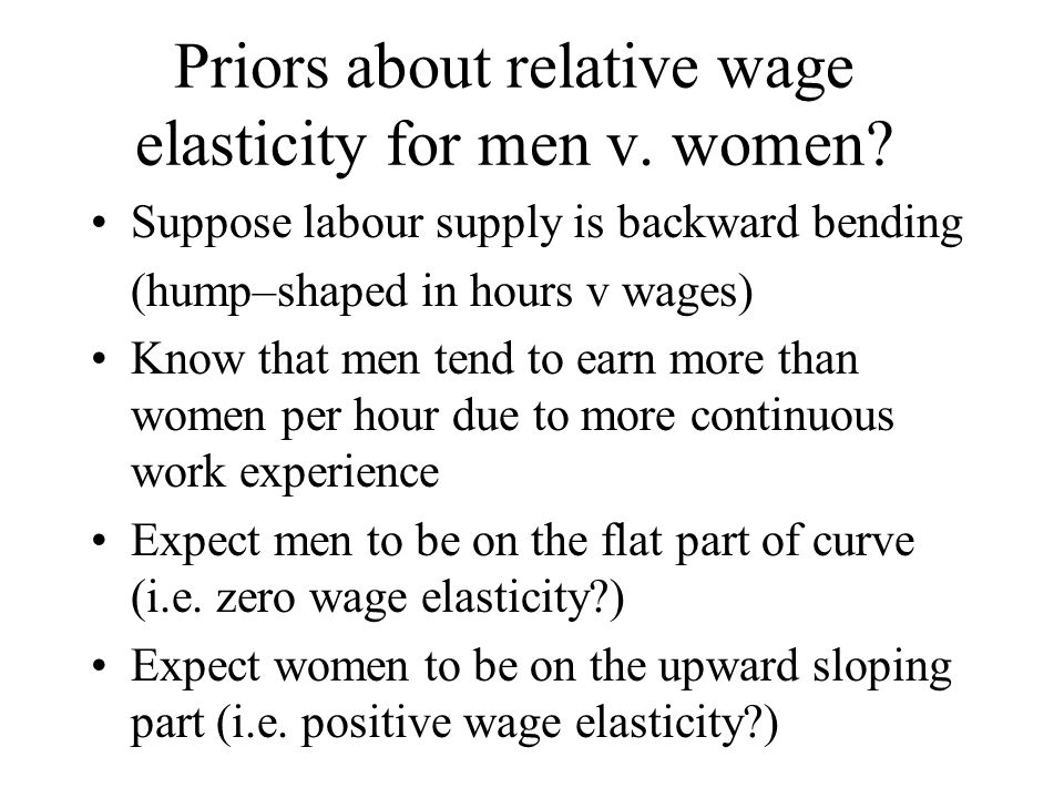 Priors about relative wage elasticity for men v. women.