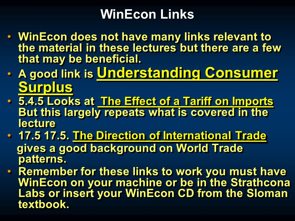 WinEcon Links WinEcon does not have many links relevant to the material in these lectures but there are a few that may be beneficial.