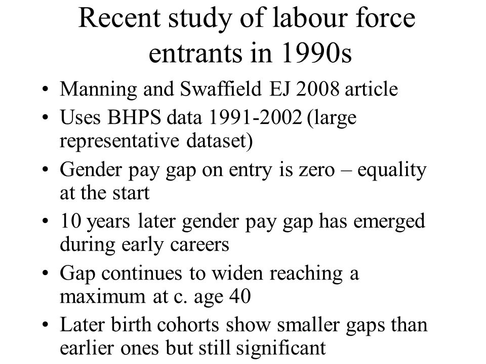 Recent study of labour force entrants in 1990s Manning and Swaffield EJ 2008 article Uses BHPS data (large representative dataset) Gender pay gap on entry is zero – equality at the start 10 years later gender pay gap has emerged during early careers Gap continues to widen reaching a maximum at c.