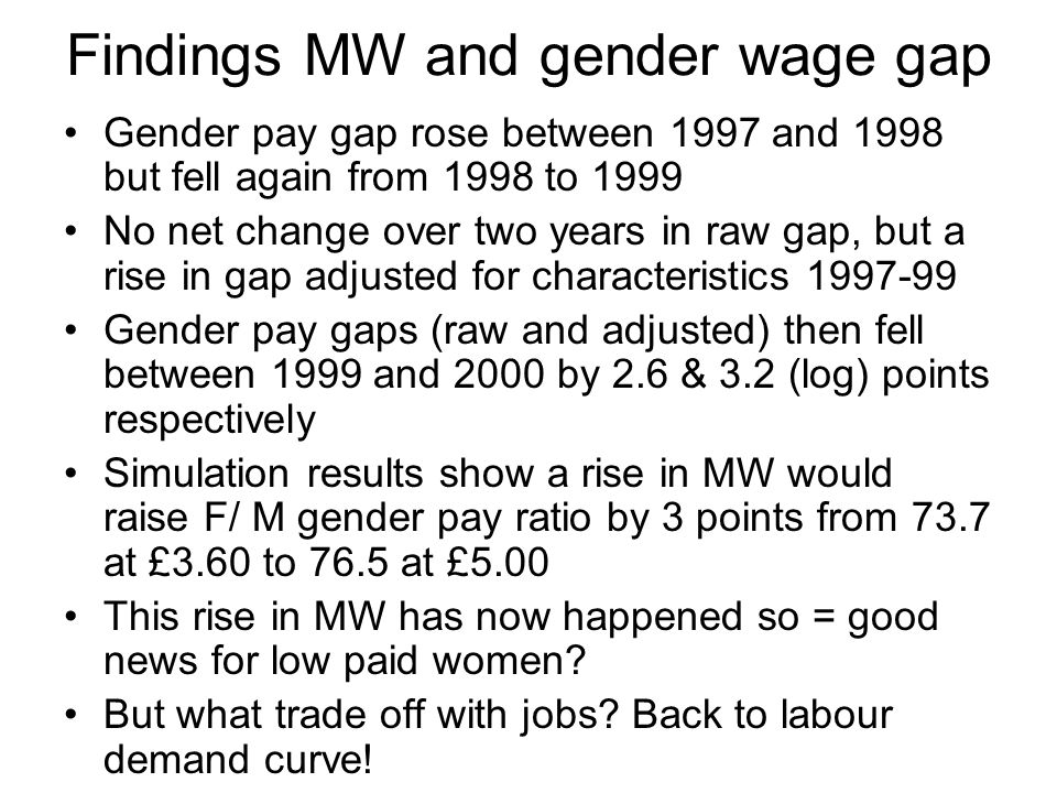 Findings MW and gender wage gap Gender pay gap rose between 1997 and 1998 but fell again from 1998 to 1999 No net change over two years in raw gap, but a rise in gap adjusted for characteristics 1997-99 Gender pay gaps (raw and adjusted) then fell between 1999 and 2000 by 2.6 & 3.2 (log) points respectively Simulation results show a rise in MW would raise F/ M gender pay ratio by 3 points from 73.7 at £3.60 to 76.5 at £5.00 This rise in MW has now happened so = good news for low paid women.