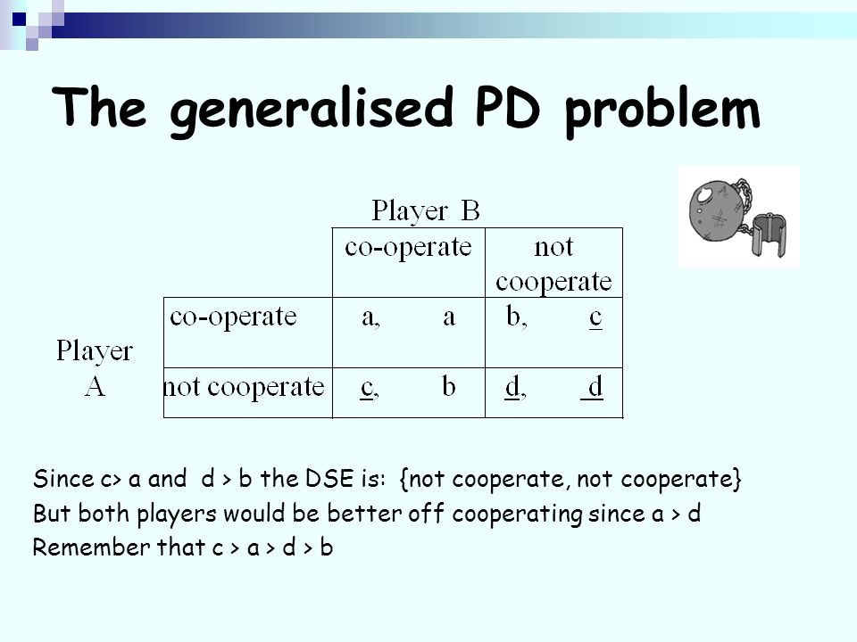 The generalised PD problem Since c> a and d > b the DSE is: {not cooperate, not cooperate} But both players would be better off cooperating since a > d Remember that c > a > d > b
