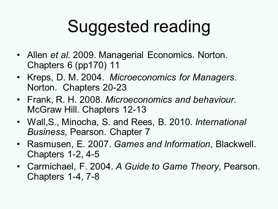 Suggested reading Allen et al. 2009. Managerial Economics. Norton. Chapters 6 (pp170) 11 Kreps, D. M. 2004. Microeconomics for Managers. Norton. Chapt