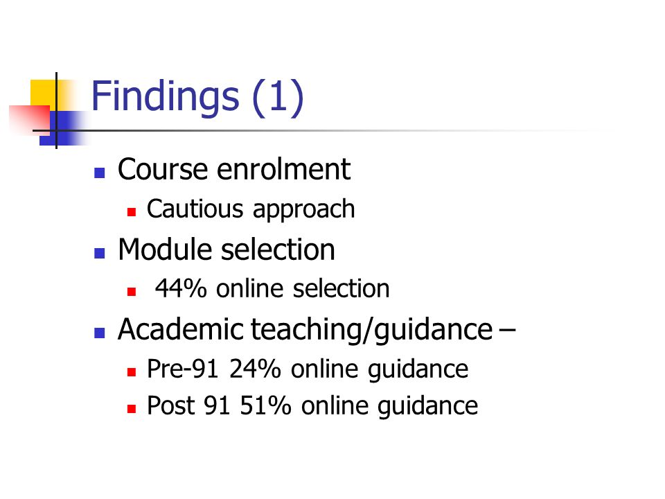 Findings (1) Course enrolment Cautious approach Module selection 44% online selection Academic teaching/guidance – Pre-91 24% online guidance Post 91 51% online guidance