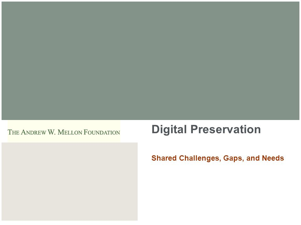 ARTstor Digital Preservation Shared Challenges, Gaps, and Needs