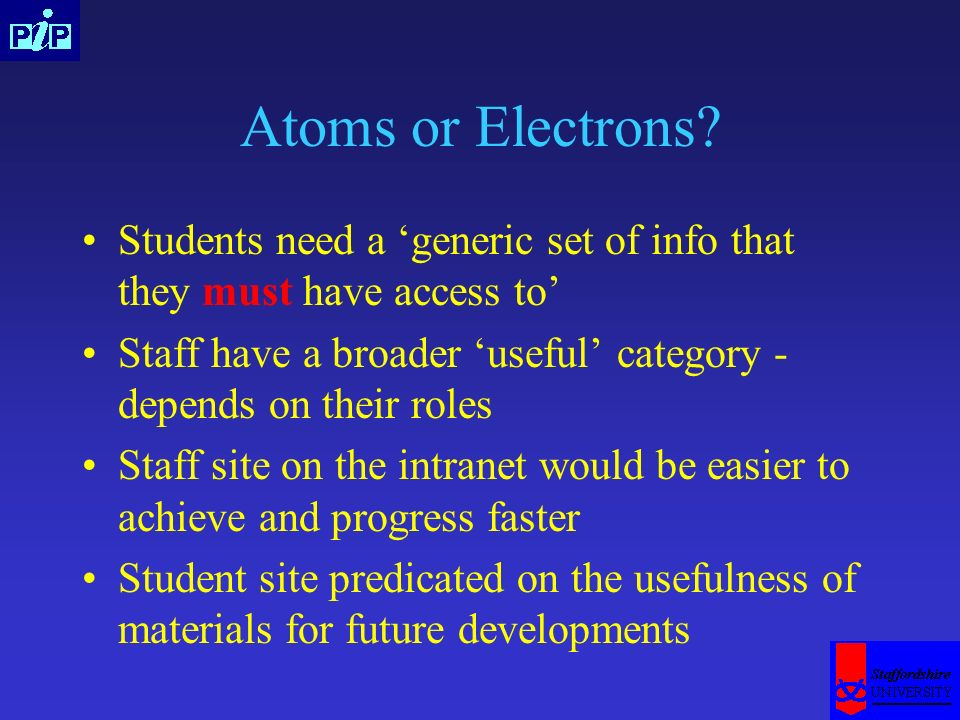 Atoms or Electrons? Students need a generic set of info that they must have access to Staff have a broader useful category - depends on their roles St