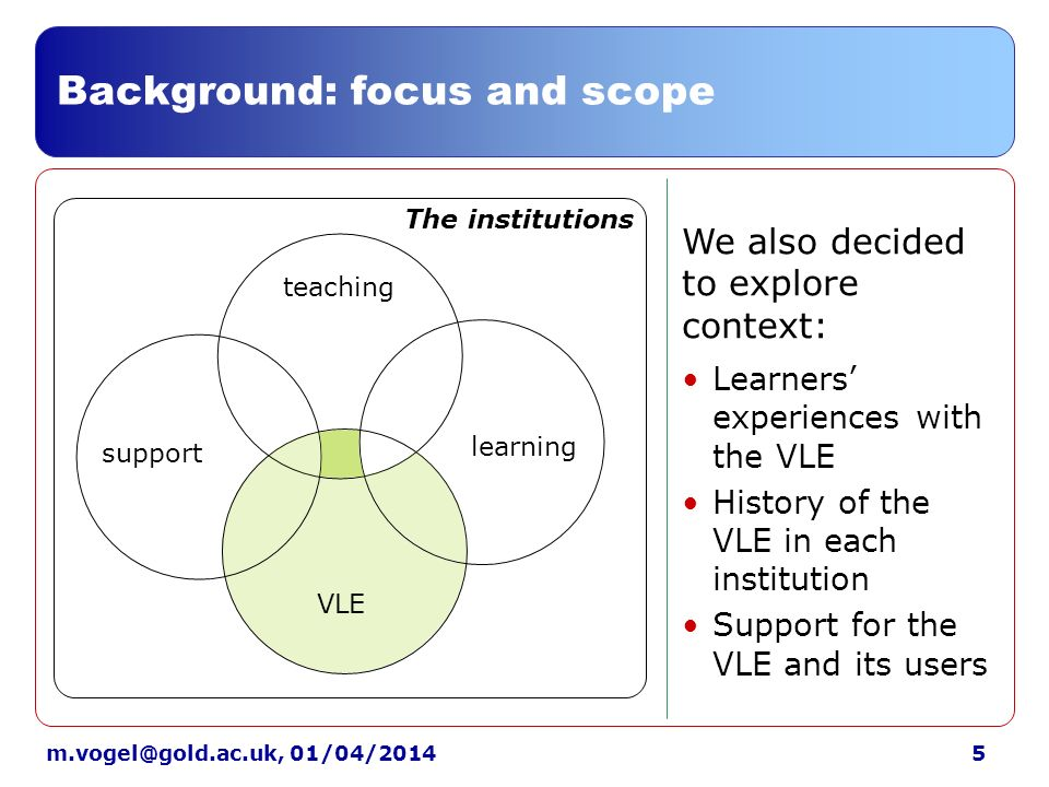 5m.vogel@gold.ac.uk, 01/04/2014 Background: focus and scope support The institutions learning teaching VLE Learners experiences with the VLE History of the VLE in each institution Support for the VLE and its users We also decided to explore context: