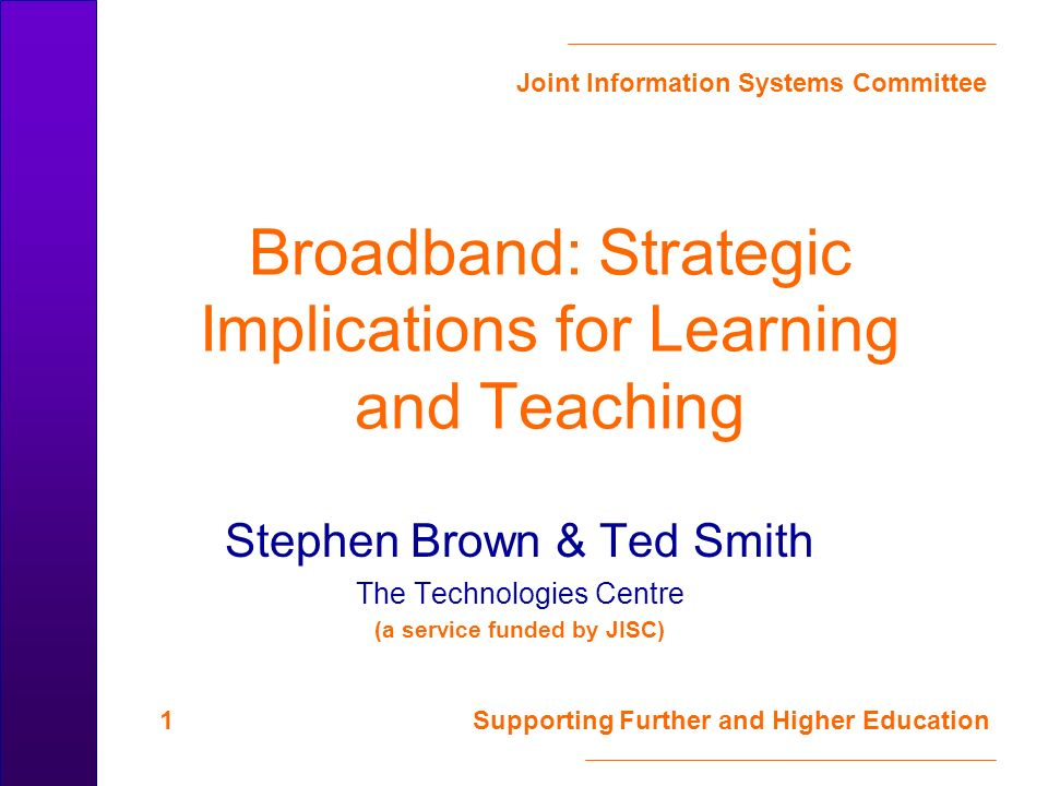 Joint Information Systems Committee 12 Supporting Further and Higher Education Options: Cable Cable modems – fast (1 Mb/s), cheapish (£25 - £33 a month), now – limited coverage – Comparable with BTs ADSL Cable TV/data services – Kingston Interactive TV – pointer to the future