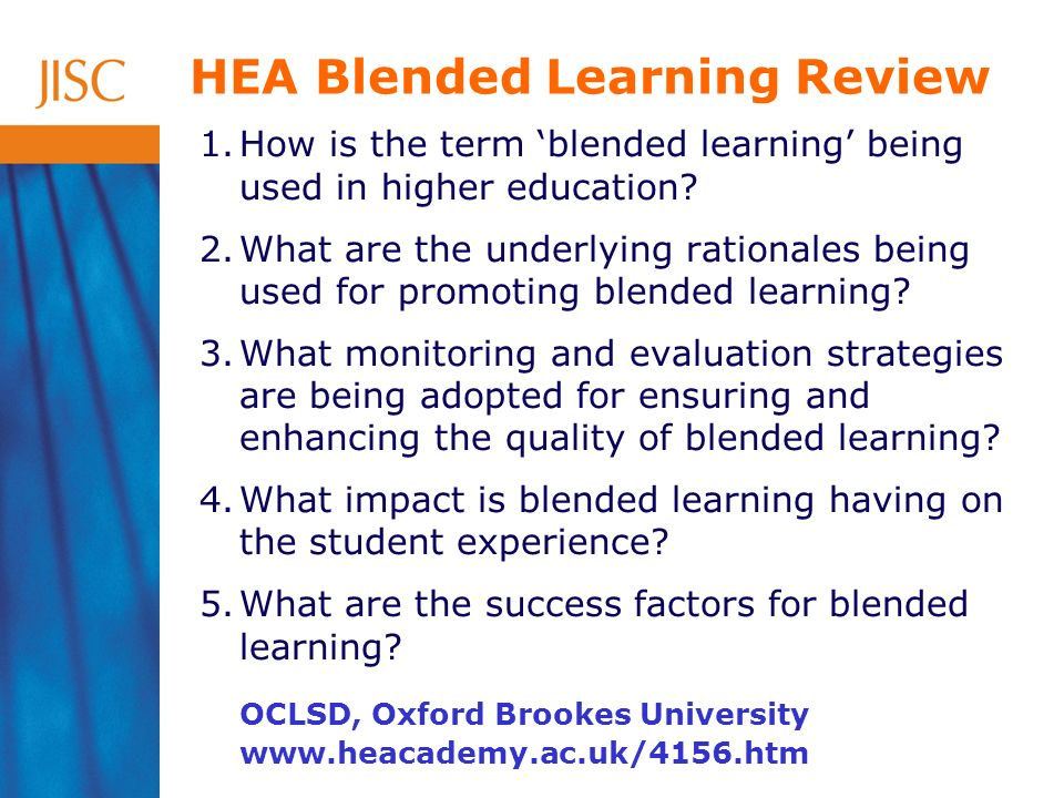1.How is the term blended learning being used in higher education.