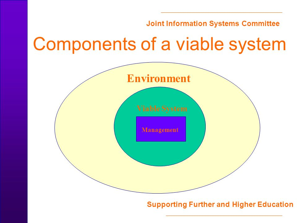 Joint Information Systems Committee Supporting Further and Higher Education Components of a viable system Environment Management Viable System