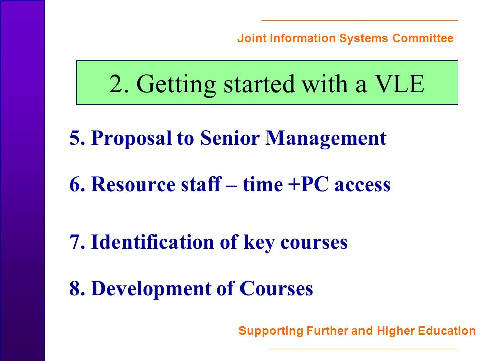 Joint Information Systems Committee Supporting Further and Higher Education 2.
