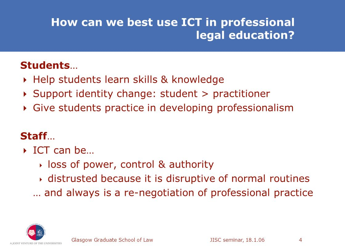 Glasgow Graduate School of Law JISC seminar, 18.1.064 How can we best use ICT in professional legal education? Students… Help students learn skills &