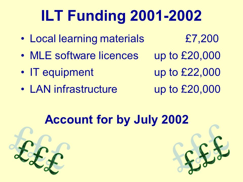 ILT Funding Local learning materials £7,200 MLE software licences up to £20,000 IT equipment up to £22,000 LAN infrastructure up to £20,000 Account for by July 2002