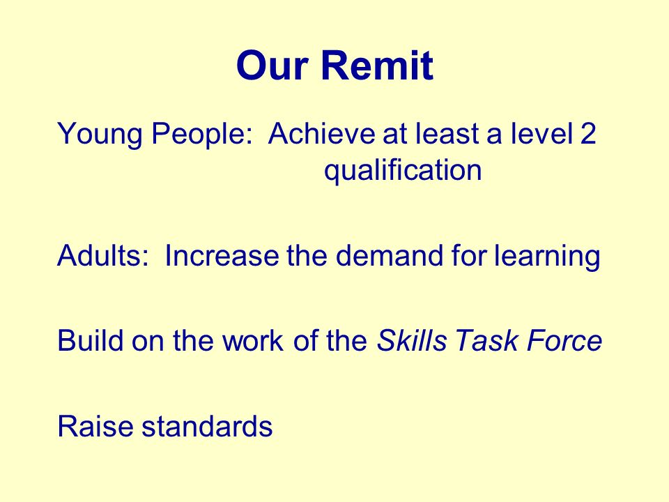 Our Remit Young People: Achieve at least a level 2 qualification Adults: Increase the demand for learning Build on the work of the Skills Task Force Raise standards