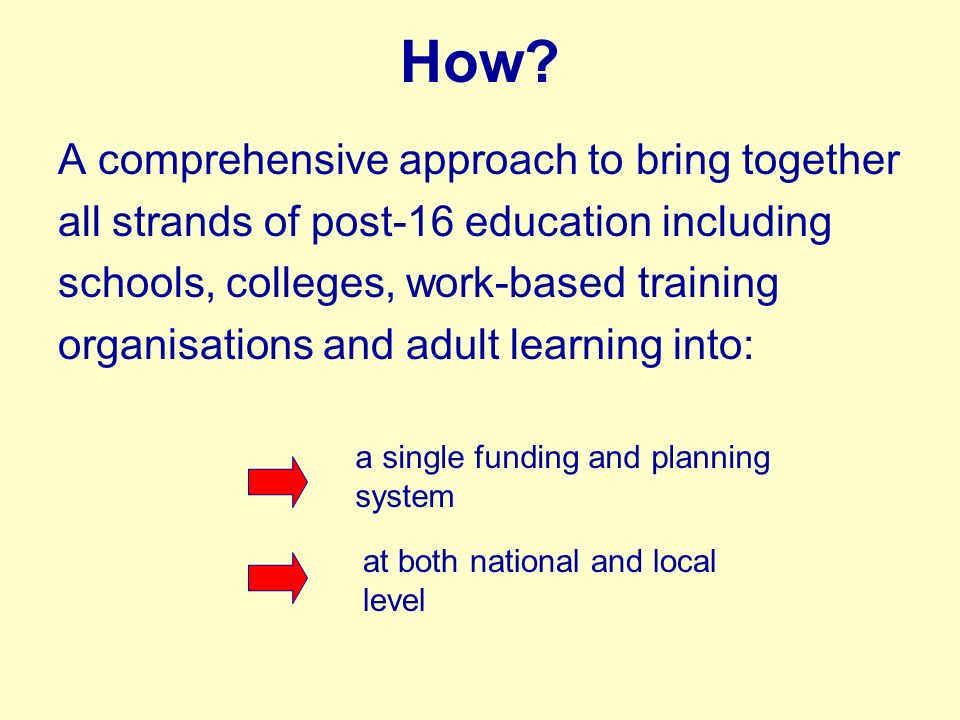 How? A comprehensive approach to bring together all strands of post-16 education including schools, colleges, work-based training organisations and ad