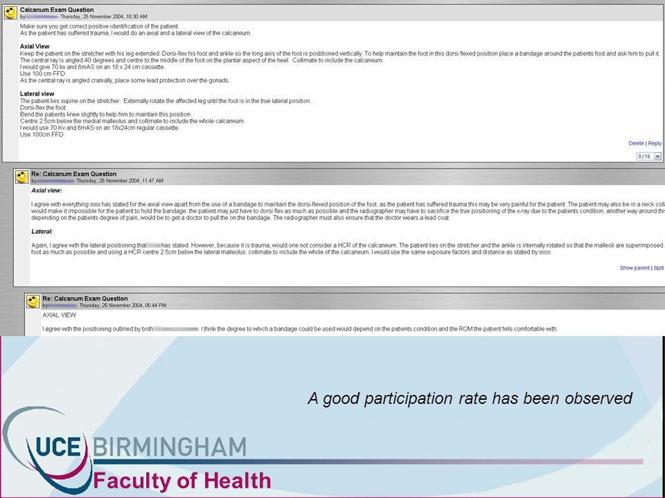 Faculty of Health A good participation rate has been observed