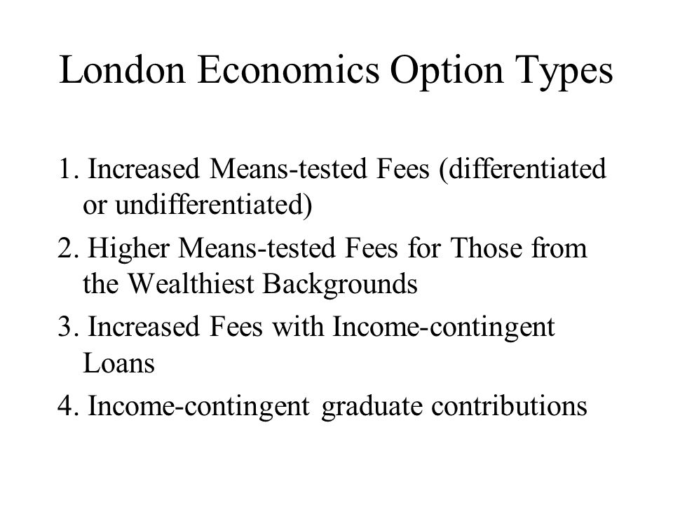 London Economics Option Types 1.