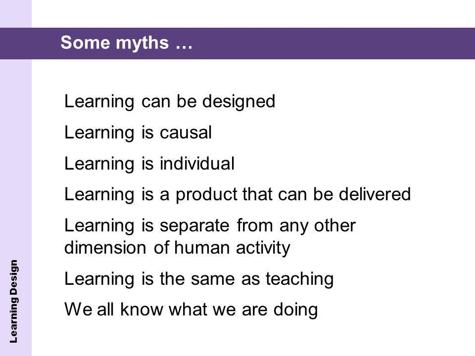 Learning Design Learning can be designed Learning is causal Learning is individual Learning is a product that can be delivered Learning is separate from any other dimension of human activity Learning is the same as teaching We all know what we are doing Some myths …