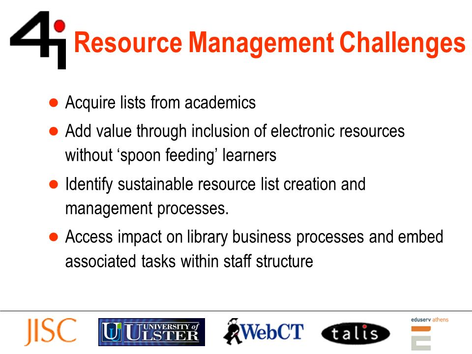 Resource Management Challenges Acquire lists from academics Add value through inclusion of electronic resources without spoon feeding learners Identify sustainable resource list creation and management processes.