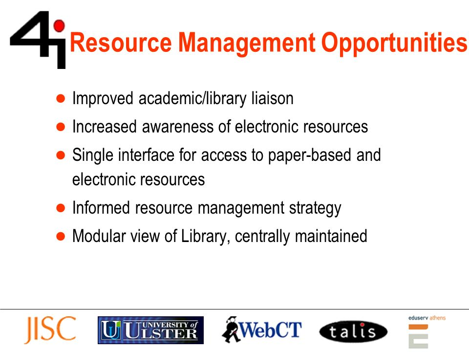 Resource Management Opportunities Improved academic/library liaison Increased awareness of electronic resources Single interface for access to paper-b