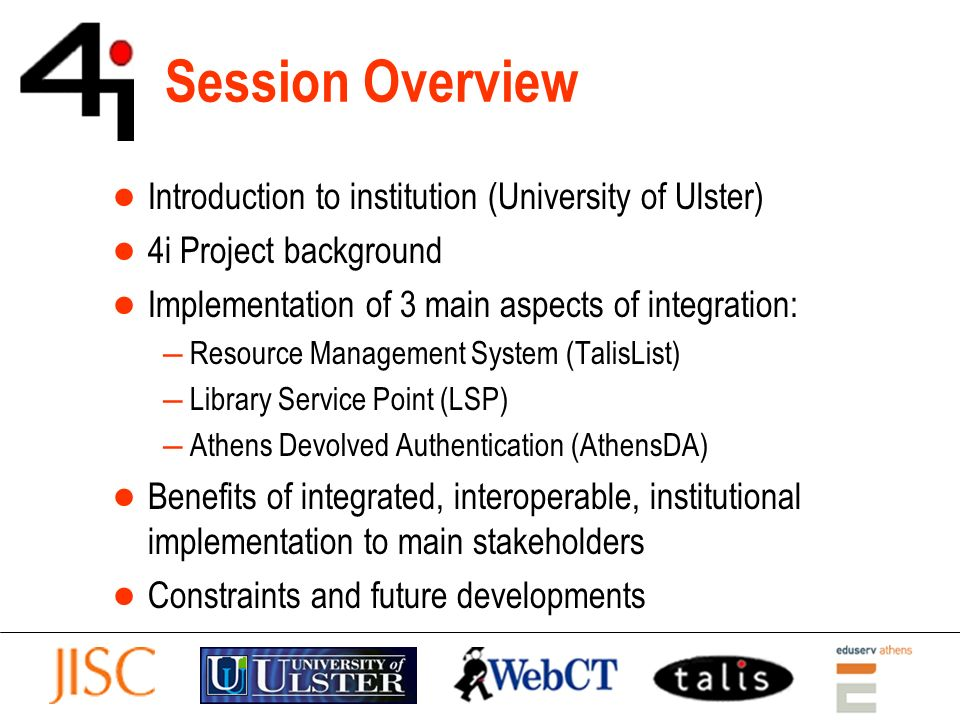 Overall Benefits Opportunities arising from an integrated, interoperable, institutional approach to VLE-Library system implementation include Streamlining of library business processes Simplified user education Reduction in helpdesk queries Increased usage of electronic resources These benefits are explored in more detail in section 4 of the paper Integrating VLEs & Libraries: opportunities and challenges to be published in the Informatica journalIntegrating VLEs & Libraries: opportunities and challenges click web link to view full paper