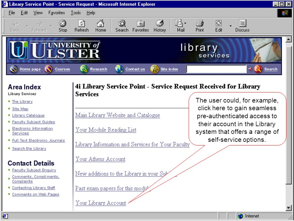 The user could, for example, click here to gain seamless pre-authenticated access to their account in the Library system that offers a range of self-service options.