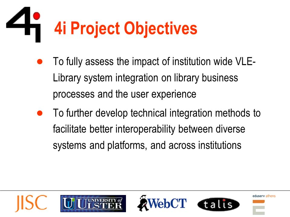 Challenges of Integration If students are enrolled for a module, we know quite a lot about who they are and what they are likely to be studying… Can we provide all users with a contextual view of library and other appropriate resources/services.