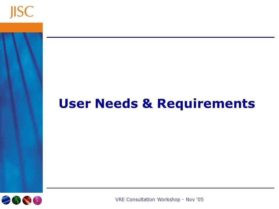 VRE Consultation Workshop - Nov 05 User Needs & Requirements