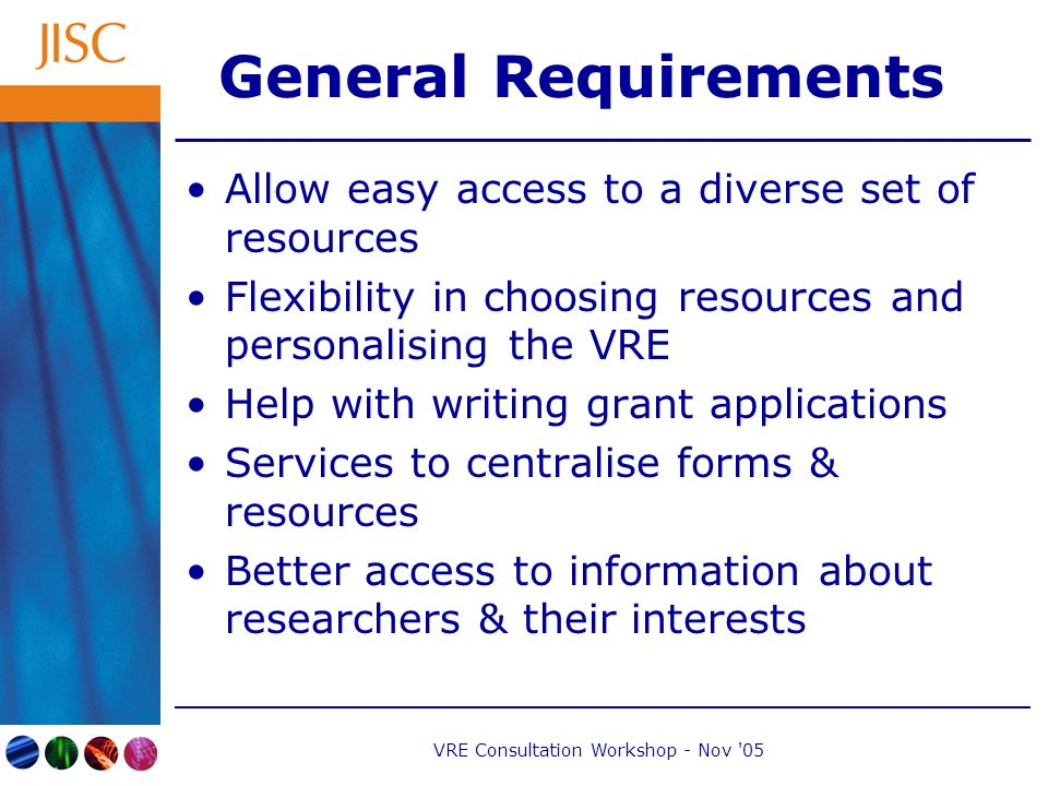 VRE Consultation Workshop - Nov 05 General Requirements Allow easy access to a diverse set of resources Flexibility in choosing resources and personalising the VRE Help with writing grant applications Services to centralise forms & resources Better access to information about researchers & their interests