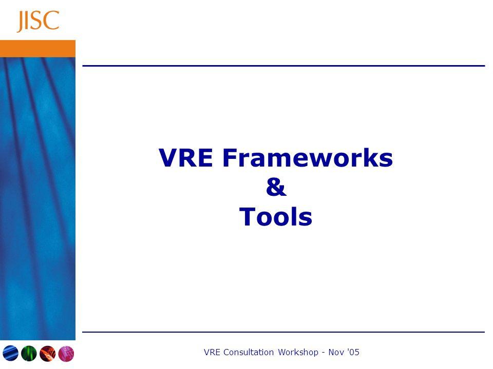VRE Consultation Workshop - Nov 05 VRE Frameworks & Tools
