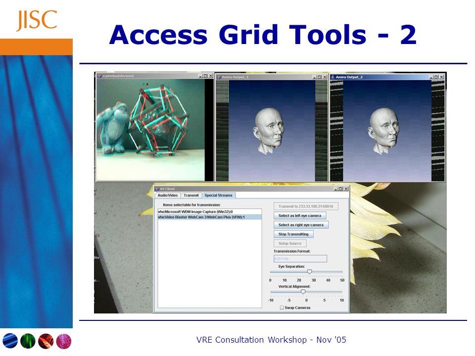 VRE Consultation Workshop - Nov 05 Access Grid Tools - 2