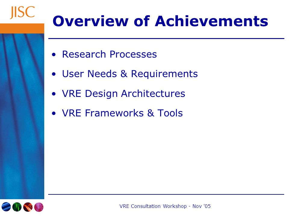 VRE Consultation Workshop - Nov 05 Overview of Achievements Research Processes User Needs & Requirements VRE Design Architectures VRE Frameworks & Tools