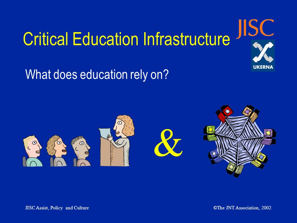 JISC Assist, Policy and Culture©The JNT Association, 2002 Critical Education Infrastructure What does education rely on? &