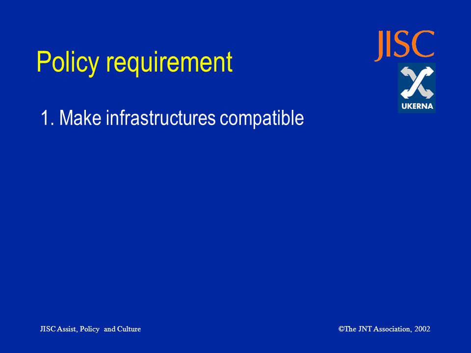 JISC Assist, Policy and Culture©The JNT Association, 2002 Policy requirement 1. Make infrastructures compatible
