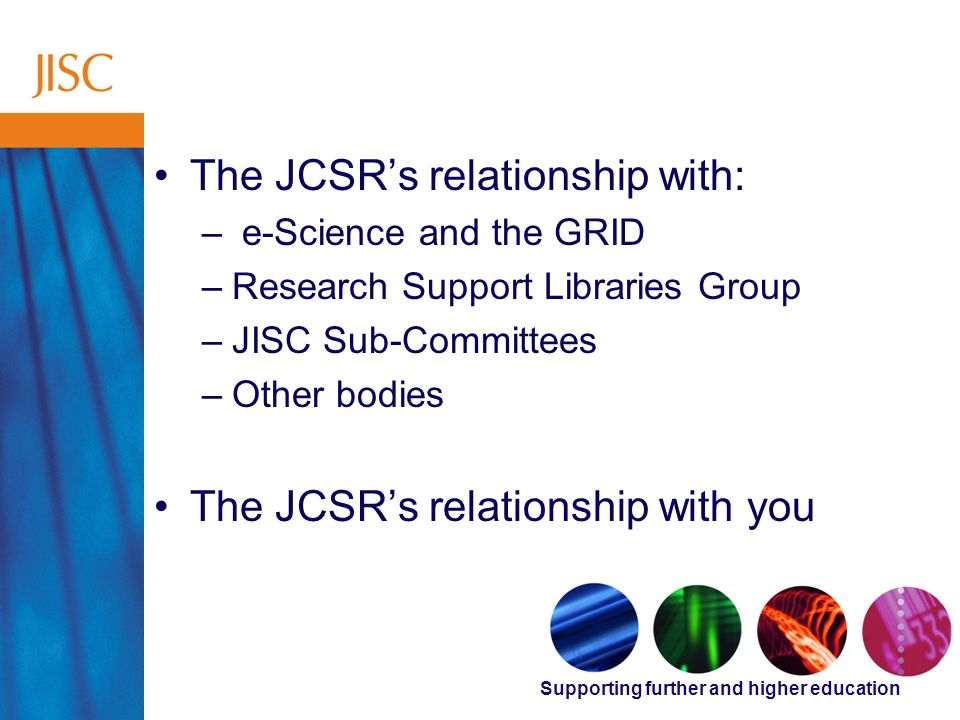 Supporting further and higher education Supporting Research The JCSRs relationship with: – e-Science and the GRID –Research Support Libraries Group –JISC Sub-Committees –Other bodies The JCSRs relationship with you