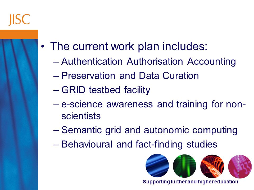 Supporting further and higher education Supporting Research The current work plan includes: –Authentication Authorisation Accounting –Preservation and
