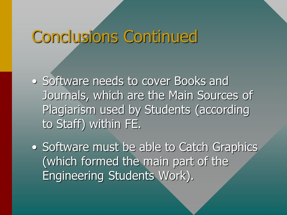 Conclusions Continued Software needs to cover Books and Journals, which are the Main Sources of Plagiarism used by Students (according to Staff) within FE.Software needs to cover Books and Journals, which are the Main Sources of Plagiarism used by Students (according to Staff) within FE.