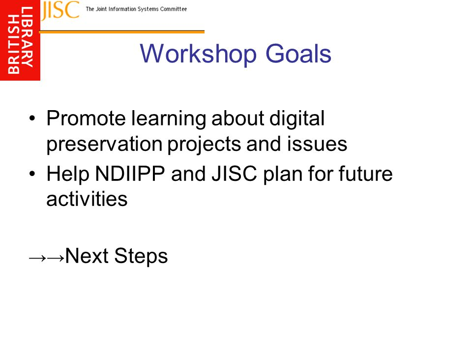 Workshop Goals Promote learning about digital preservation projects and issues Help NDIIPP and JISC plan for future activities Next Steps