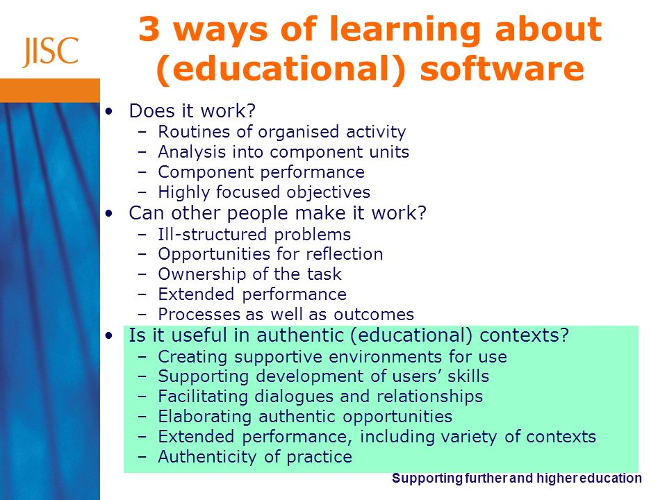 Supporting further and higher education 3 ways of learning about (educational) software Does it work? –Routines of organised activity –Analysis into c