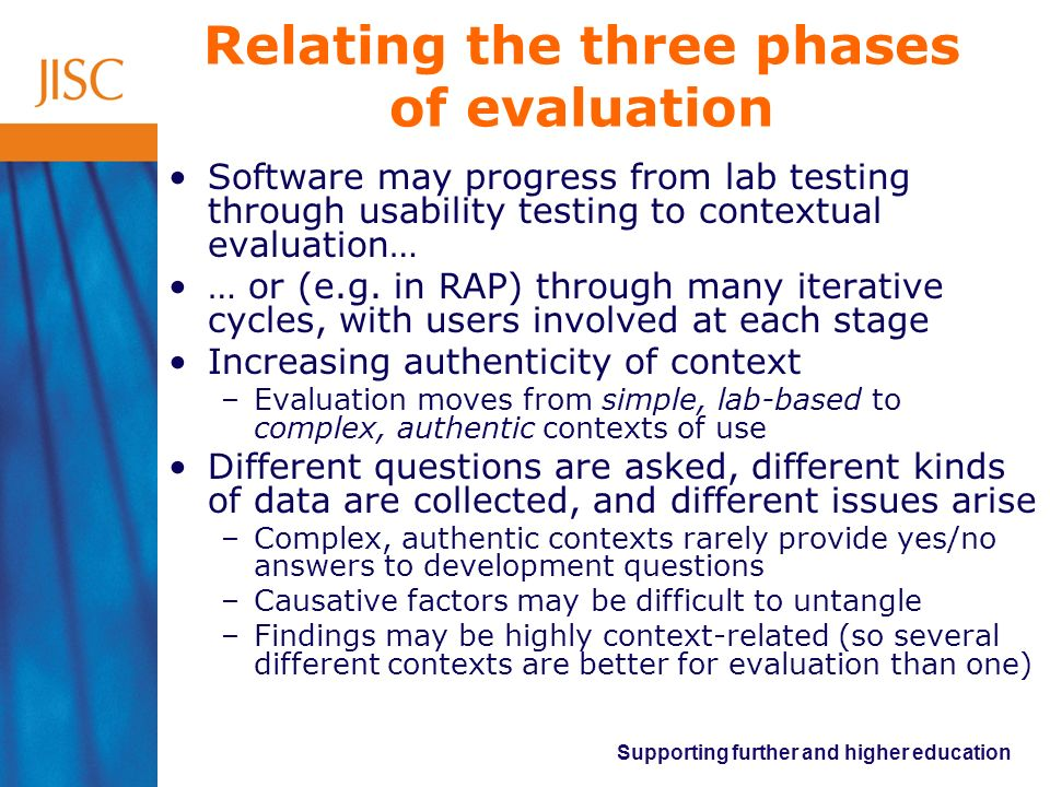 Supporting further and higher education Relating the three phases of evaluation Software may progress from lab testing through usability testing to co
