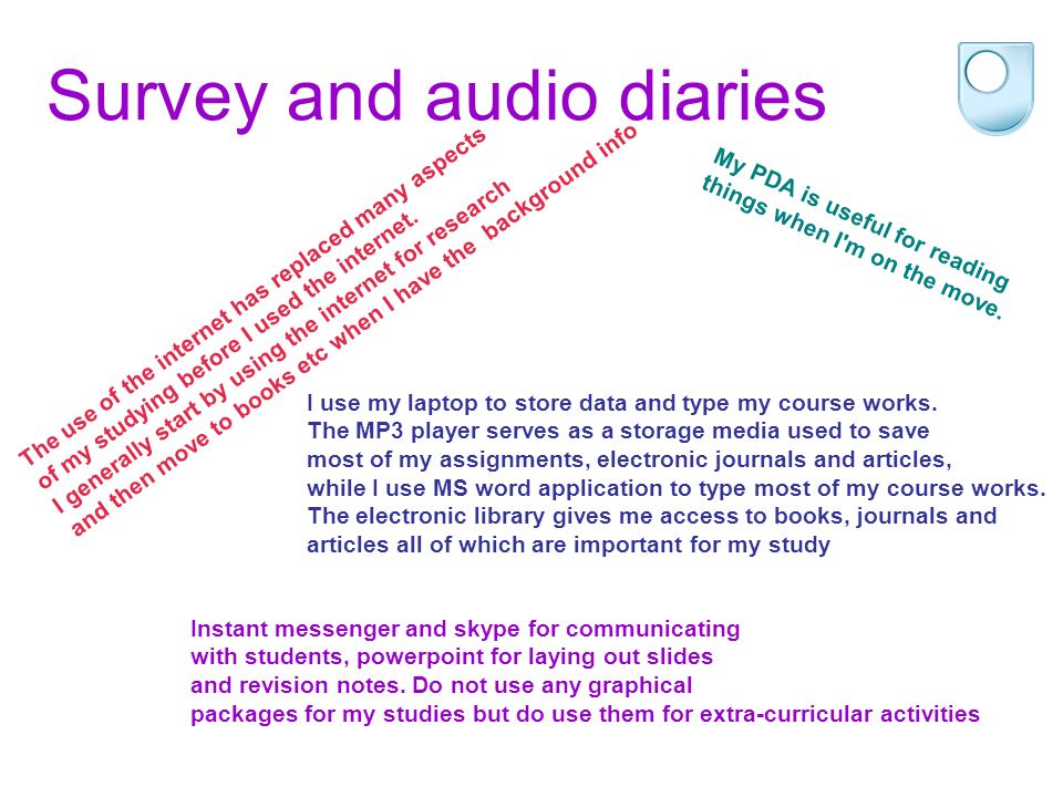Survey and audio diaries I use email to communicate with everyone, especially lecturers; arranging meetings, asking questions about work and queries over assignments etc I write all my assignments using Word and to sort through the information I find, make notes of what I still need to do and spell check my emails that I m sending to lecturers.