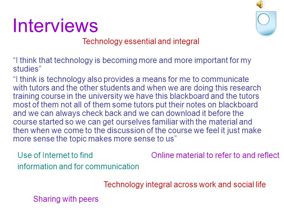 Survey and audio diaries The use of the internet has replaced many aspects of my studying before I used the internet.