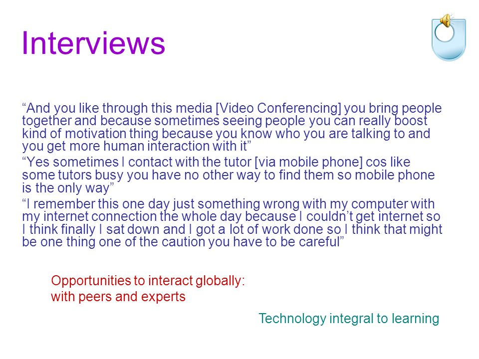 Interviews If I can get something online I will go for that first because it is always good you can get electronic form to keep in your computer and you can always trace back but for paper – and also you can print out if you want you can read it first and then if it is useful you can print out but if something is not so relevant you can just leave it [Communication] through email because I think everyone most other people check their email quite often and so thats the yeh and also this is the sort of communication media is less interruptive for me because its not like you phone somebody and you are not sure if she or he or she is convenient or not at that moment but you email and he can always pick up when he got time Subtle and sophisticated uses Internet as first port of call, difficulty of using paper-based journals Care in selecting appropriate resources; using time online effectively