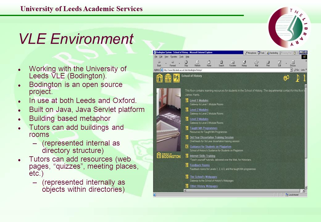 University of Leeds Academic Services VLE Environment l Working with the University of Leeds VLE (Bodington).