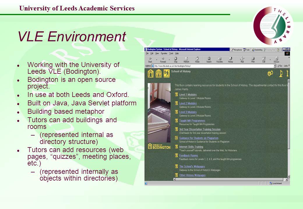 University of Leeds Academic Services VLE Environment l Working with the University of Leeds VLE (Bodington). l Bodington is an open source project. l