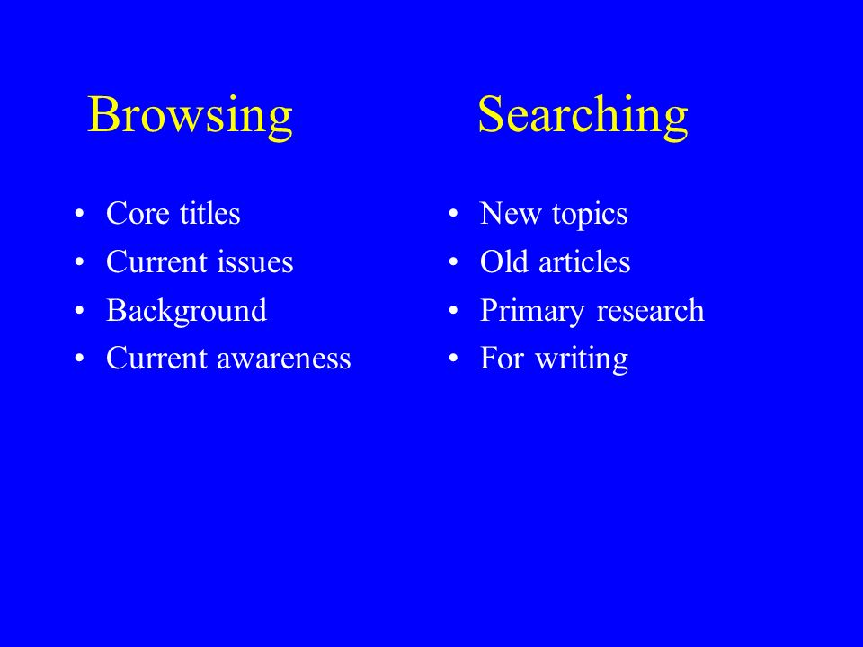Browsing Searching Core titles Current issues Background Current awareness New topics Old articles Primary research For writing